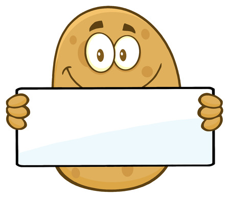 holding sign: Potato Cartoon Character Holding A Blank Sign