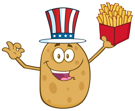 gesturing: American Potato Character Gesturing Ok And Holding A French Fries