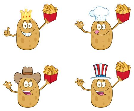 cocina caricatura: Patata mascota de la historieta del personaje Set 2. Colecci�n Foto de archivo