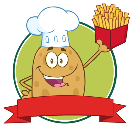 Chef Potato Cartoon Character Circle Banner