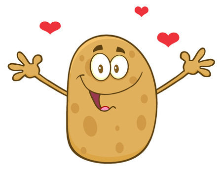 batata: Happy Potato Character With Hearts And Open Arms For A Hug Stock Photo