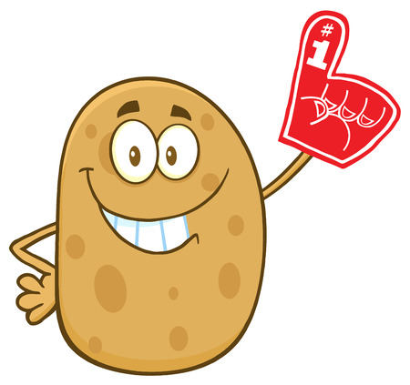 batata: Happy Potato Character Wearing A Foam Finger