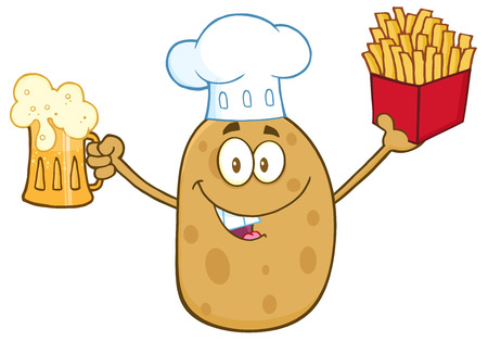 batata: Chef Potato Character Holding Fries And Holding A Beer