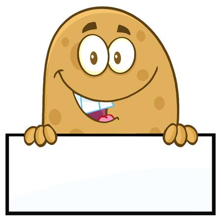 Lachende Aardappel Karakter Over een leeg teken Stockfoto