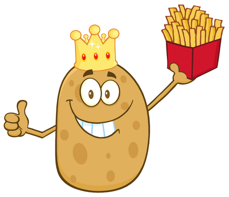 batata: Smiling King Potato Character Holding Fries And Giving A Thumb Up Stock Photo