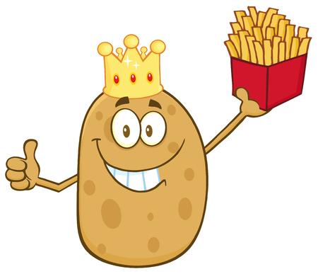 rey: Sonreír Rey patata Carácter Holding Fries Y dando un pulgar