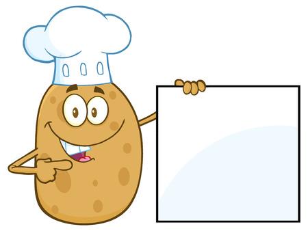 Chef Potato Karakter wijst naar een lege Teken Stockfoto