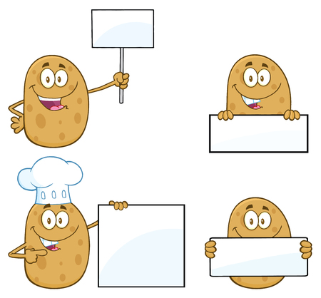 Potato Cartoon Mascot Character 3. Collection Set