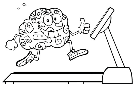 running back: Back And White Healthy Brain Cartoon Character Running On A Treadmill