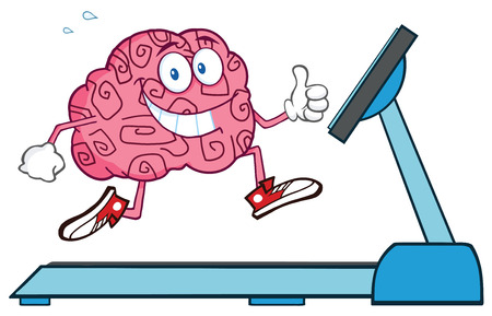 parietal: Healthy Brain Character Running On A Treadmill And Giving A Thumb Up Stock Photo