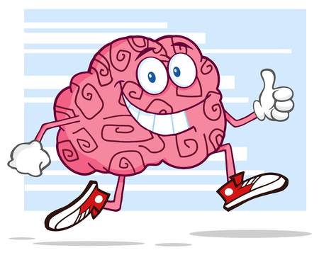 parietal: Smiling Brain Character Jogging And Giving A Thumb Up Stock Photo