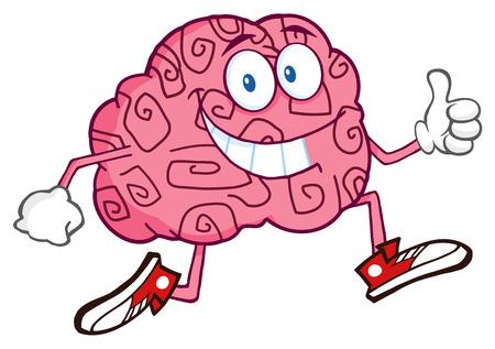 parietal: Brain Cartoon Character Jogging And Giving A Thumb Up