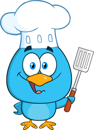 slotted: Chef Blue Bird Character Holding A Slotted Spatula