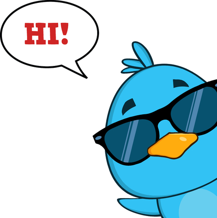 looking in corner: Cute Blue Bird With Sunglasses Character Looking From A Corner With Speech Bubble And Text Stock Photo