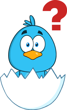 surprised: Cute Blue Bird Character Hatching From An Egg With Question Mark