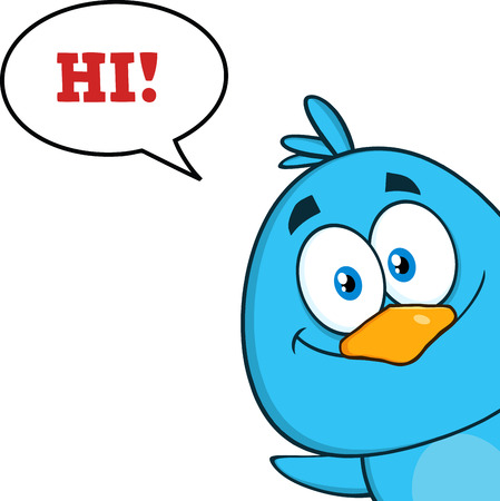 newborn baby: Smiling Blue Bird Character Looking From A Corner With Speech Bubble