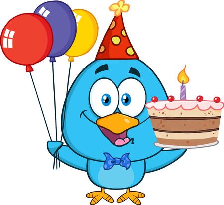 Leuke Blauwe Vogel Holding Up A kleurrijke ballonnen en verjaardagstaart Stockfoto