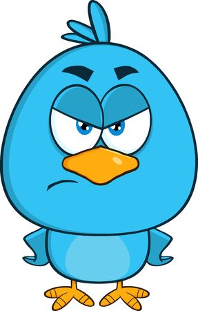cute animal cartoon: Angry Blue Bird Cartoon Character