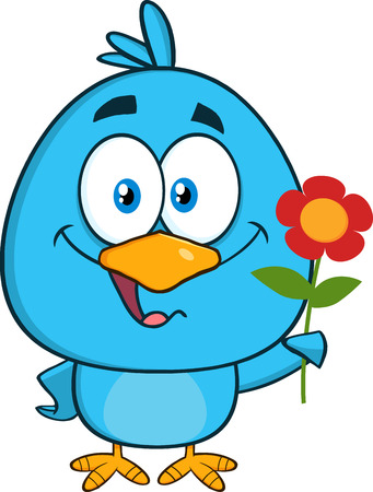 cute animal: Happy Blue Bird Character With A Red Daisy Flower