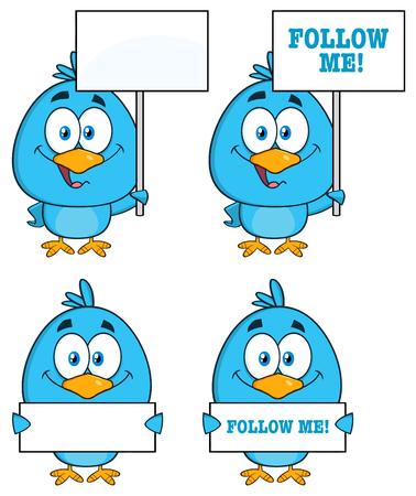 blank sign: Cute Blue Bird Cartoon Character 6. Collection Set