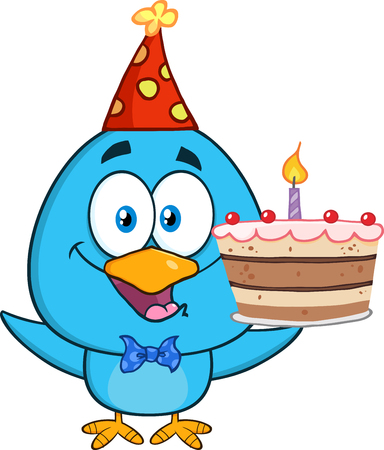 cute animal cartoon: Happy Blue Bird Cartoon Character Holding Up A Birthday Cake