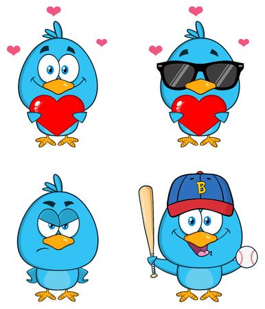 deportes caricatura: Car�cter p�jaro azul lindo de la historieta Conjunto 5. Colecci�n