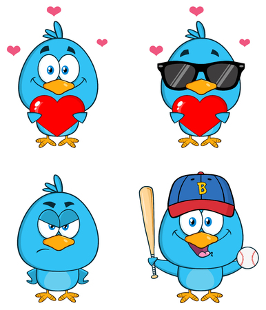 Cute Blue Bird Cartoon Character 5. Collection Set