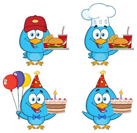tweet balloon: Cute Blue Bird Cartoon Character 9. Collection Set