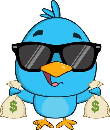 bluebird: Cute Blue Bird With Sunglasses Character Holding A Bags