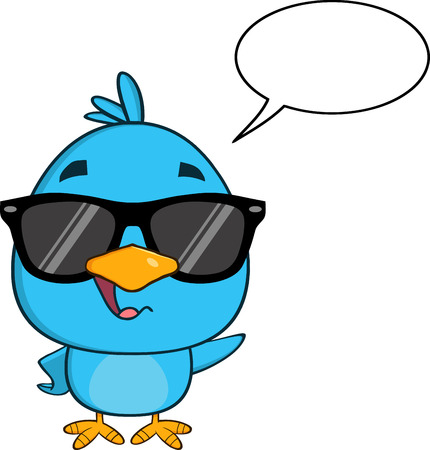 newborn baby: Funny Blue Bird With Sunglasses Character Waving With Speech Bubble