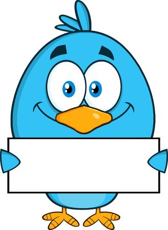 bluebird: Smiling Blue Bird Cartoon Character Holding A Blank Sign