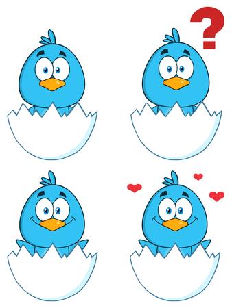 bluebird: Cute Blue Bird Cartoon Character 1. Collection Set Stock Photo