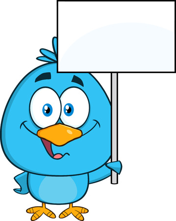 blank sign: Cute Blue Bird Cartoon Character Holding Up A Blank Sign. Illustration Isolated On White
