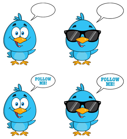 bird cartoon: Cute Blue Bird Cartoon Character 7. Collection Set