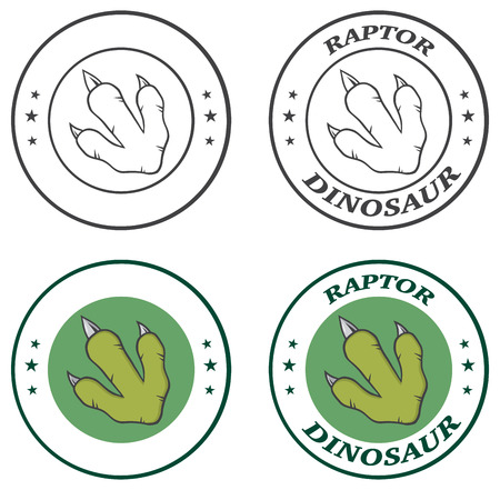 mesozoic: Dinosaur Paw Circle Logo Design With Text. Collection Set.