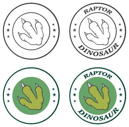 mesozoic: Dinosaur Paw Circle Logo Design With Text. Collection Set.