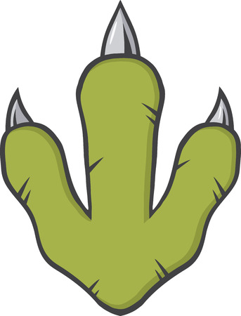 green footprint: Green Dinosaur Paw With Claws.  Illustration Isolated On White Background Stock Photo