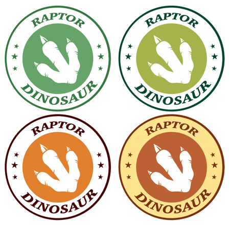 Dinosaur Footprint With Claws Circle Design With Text. Collection Set