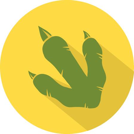 mesozoic: Yellow Dinosaur Footprint Circle Flat Design Icon