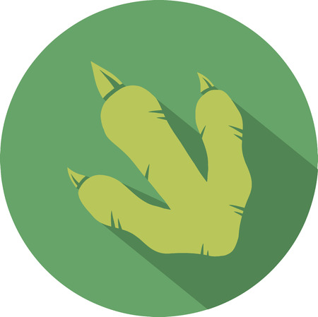 pterodactyl: Green Dinosaur Footprint Circle Flat Design Icon Stock Photo