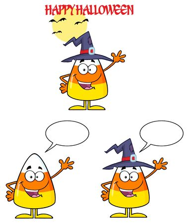 candy corn: Candy Corn Cartoon Character 4. Collection Set