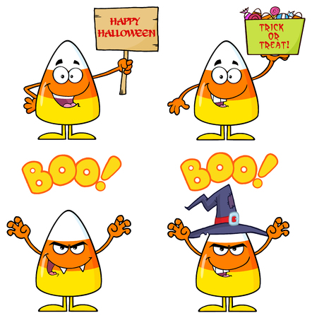 candy corn: Candy Corn Cartoon Character 3. Collection Set