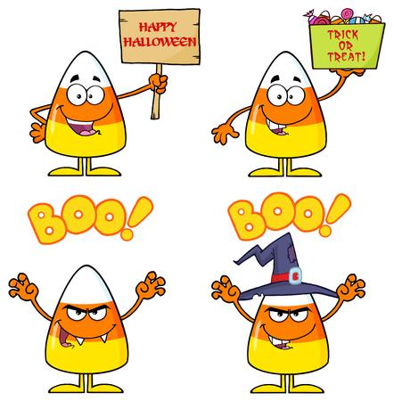 corn cartoon: Pastillas de caramelo de personaje de dibujos animados Conjunto 3. Colecci�n Foto de archivo