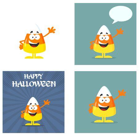 candy corn: Candy Corn Cartoon Greeting Cards Flat Design. Collection Set