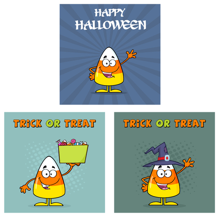 candy corn: Candy Corn Cartoon Greeting Cards. Collection Set