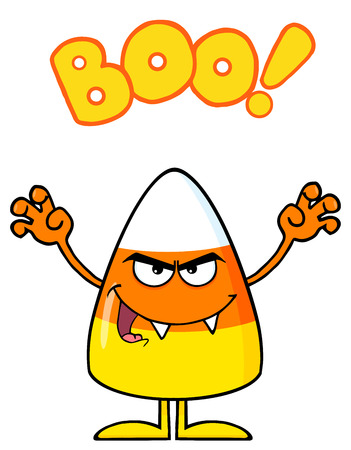 scaring: Scaring Candy Corn Cartoon Character Holding Up His Arms With Text