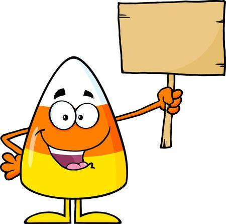 maiz: Divertido pastillas de caramelo de personaje de dibujos animados que sostiene un tablero de madera