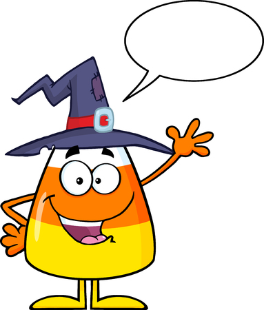 candy corn: Candy Corn Cartoon Character With A Witch Hat Waving. Illustration Isolated On White With Speech Bubble