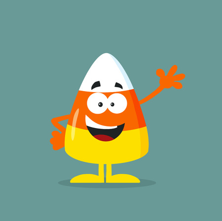 Cute Candy Corn Flat Design Waving. Illustration With Bacground