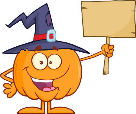 terrify: Happy Witch Pumpkin Cartoon Character Holding Up A Blank Wood Sign